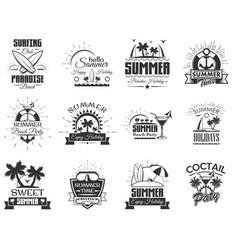 set of summer season labels in vintage vector image