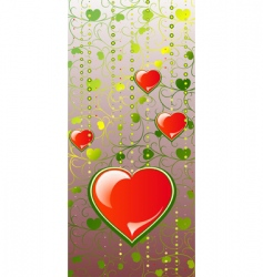 hearts on color patten background vector image