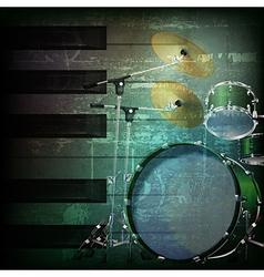Abstract dark green grunge background with drum vector