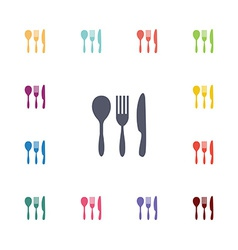 Cutlery flat icons set vector