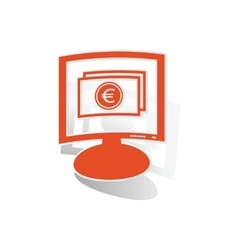 Euro banknote monitor sticker orange vector