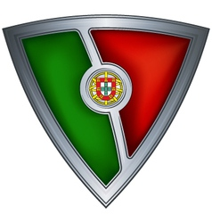 Steel shield with flag portugal vector