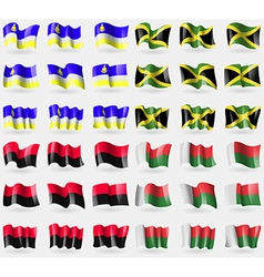 Buryatia jamaica upa madagascar set of 36 flags of vector