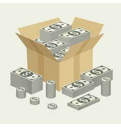 Box of money vector
