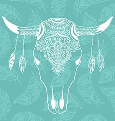 Cow skull with feathers isolated on blue vector