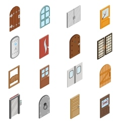 Doors icons set isometric 3d style vector