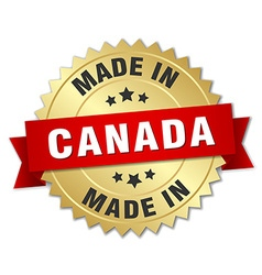 made in Canada gold badge with red ribbon vector image