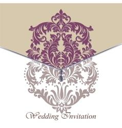 Baroque vintage floral damask invitation card vector
