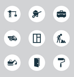 Building icons set collection of truck carry vector