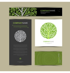 Business cards template with stylized tree vector image