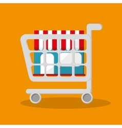 Cart store and shopping online design vector
