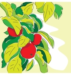 cartoon apple tree in doodle style vector image