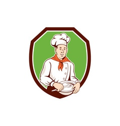 Chef cook holding spoon bowl shield cartoon vector