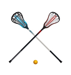 Crossed lacrosse sticks and ball isolated vector