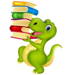 Cute dinosaur with book vector