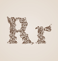 Decorated letter r vector