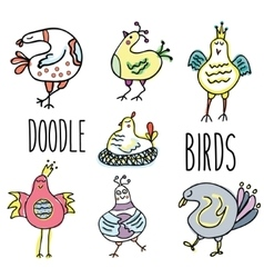 Doodle birds set Hand drawn sketch style vector image vector image