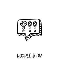 Doodle chatting icon text bubble vector