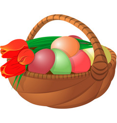 Easter basket with eggs and flower tulips vector