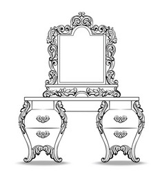 fabulous baroque console table and mirror frame vector image vector image
