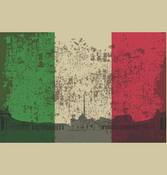 Flag of italy the outline of the building of rome vector