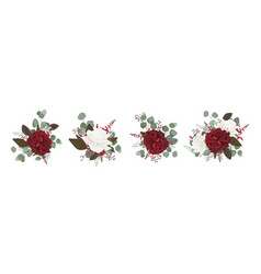 Floral bouquet design with red burgundy roses vector