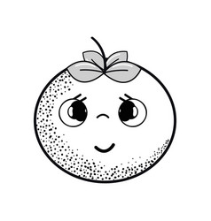 Hand drawn kawaii nice shy tomato vegetable vector