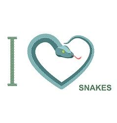 I love snakes symbol of heart of snake python vector