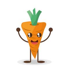kawaii carrot food character vector image