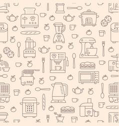 Kitchen utensil small appliances beige seamless vector