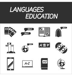 Languages education icon set vector image
