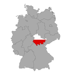 Map of Germany with flag of Thuringia vector image vector image