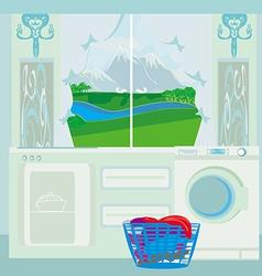 Modern blue kitchen vector image