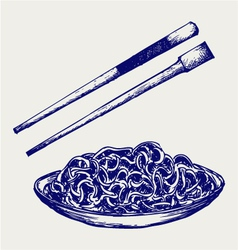 Noodle with chopsticks vector image vector image