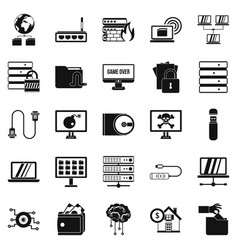 Optical drive icons set simple style vector