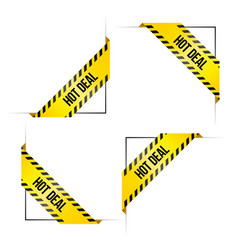 Orner labels for online shop with words hot deal vector