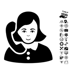 Receptionist icon with air drone tools bonus vector