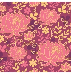 Red flowers and leaves seamless pattern background vector image vector image