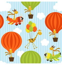 seamless pattern with giraffe on air transport vector image