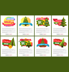 Set of christmas sale hot price 50 off posters vector