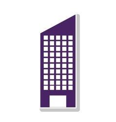 Silhouette with skyscraper building purple vector