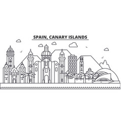 spain canary islands architecture line skyline vector image vector image