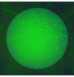 Sphere circuit over green background vector image vector image
