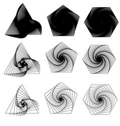 Triangle pentagon hexagon swirls vector