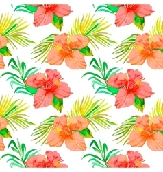 Tropical pattern hibiscus monstera leaf palm vector