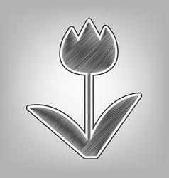 Tulip sign pencil sketch imitation dark vector