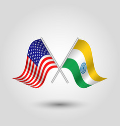 two crossed american and indian flags vector image vector image