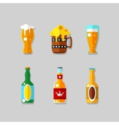 Drink flat icons alcohol and beer bottles vector