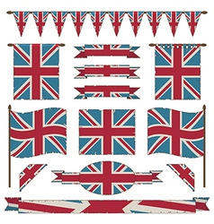 Union jack flags and ribbons vector