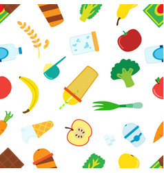 flat pattern of cartoon food for smoothie with vector image